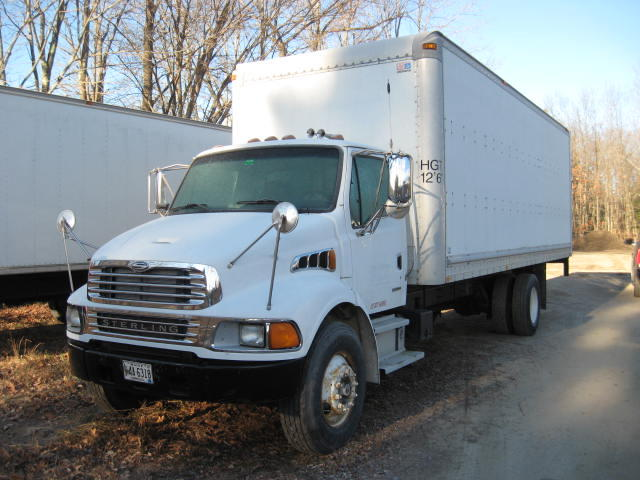 (2) BOX TRUCKS, CRANE TRUCK, STORAGE CONTAINER, DONZI POWERBOAT Auction