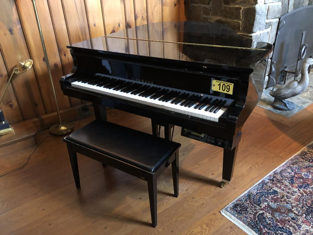TIMED ONLINE AUCTION  YAMAHA BABY GRAND PIANO - FURNITURE - SILVER Auction